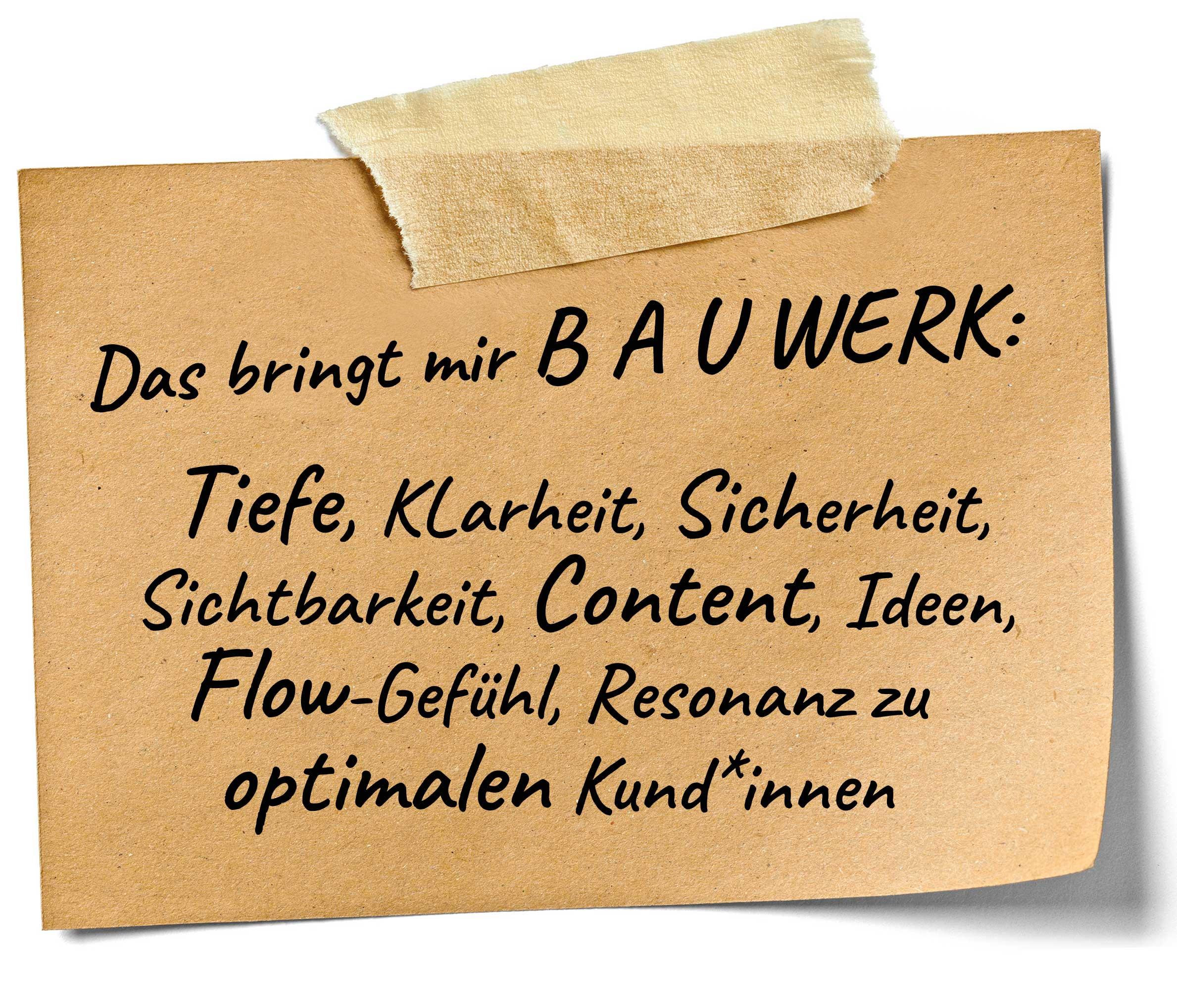 Notizzettel mit Nutzen und Mehrwert von BAUWERK