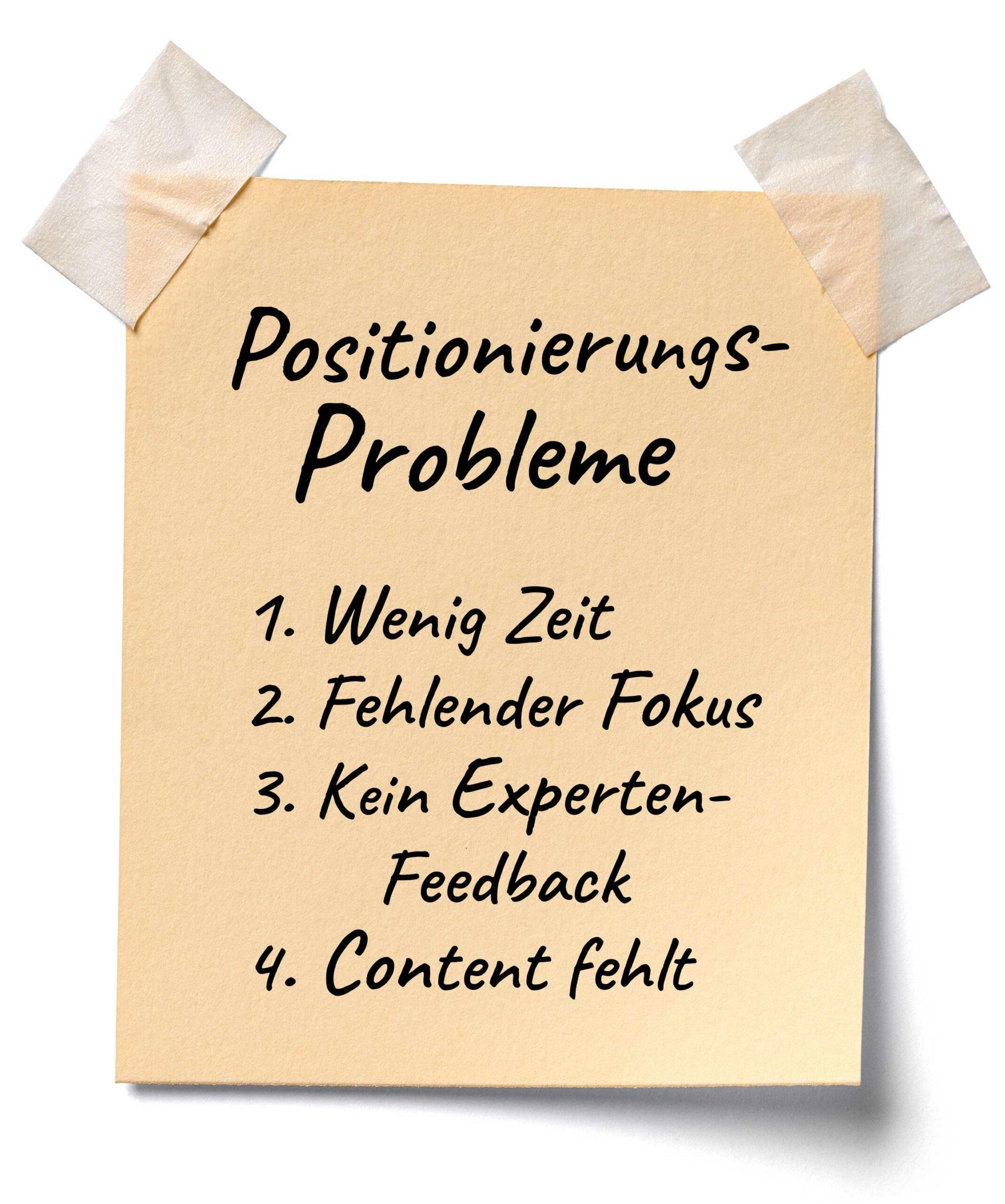 Notizzettel mit Positionierungsproblemen